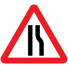 600mm Road Narrows Off Side Sign