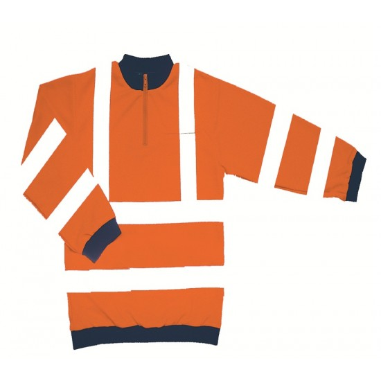 Hi Vis Orange Sweatshirt - Zip Neck
