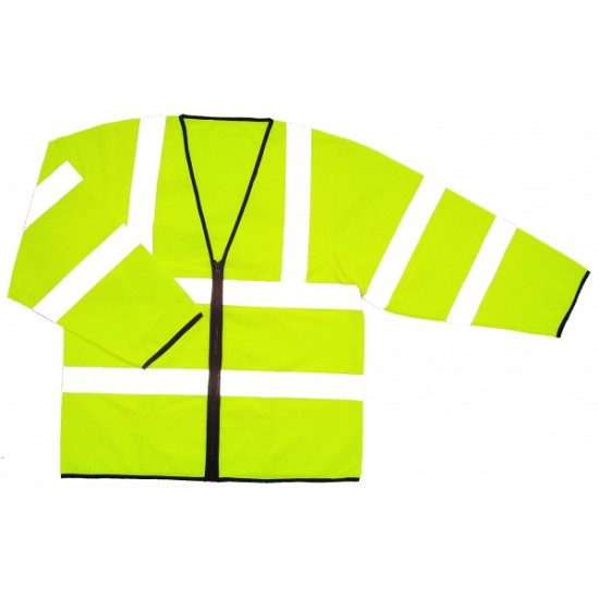 Hi Vis Yellow Jacket, Long Sleeves - Zip Front