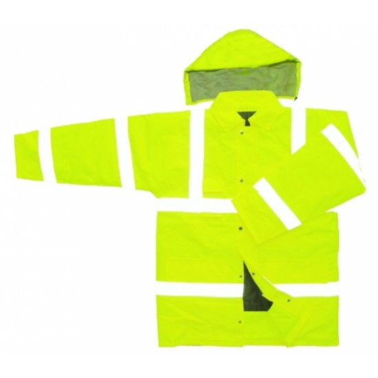Hi Vis Yellow Mesh Lined Parka