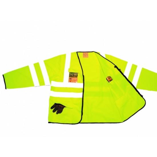 Hi Vis Yellow Superior Jacket, Long Sleeves - Zip Front