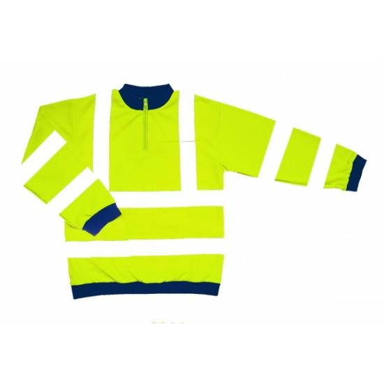 Hi Vis Yellow Sweatshirt - Zip Neck