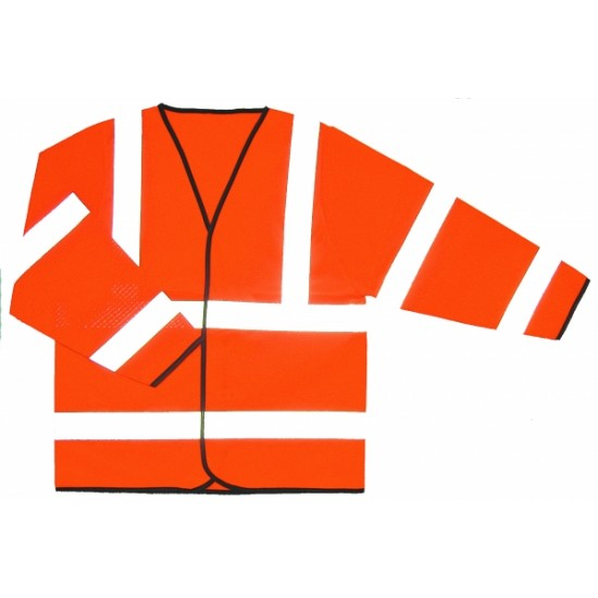 Hi Viz Orange Jacket, Long Sleeve - Velcro Front