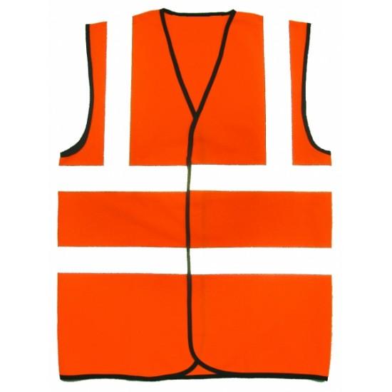 Hi Viz Orange Waistcoat Velcro Fastening